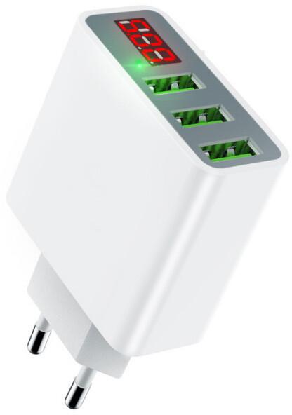 Mcdodo Digital Display Charger With Three USB Ports (EU Plug) White