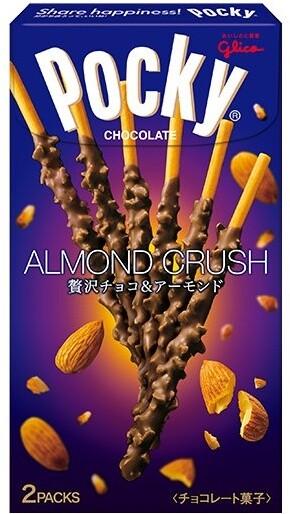 GLICO POCKY Tsubu Tsubu Almond Crush, čokoládová poleva, 2x27.5g