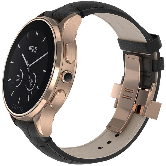 Vector SmartWatch Luna-Polished Rose Gold/Black Padded Croco/Sml Fit