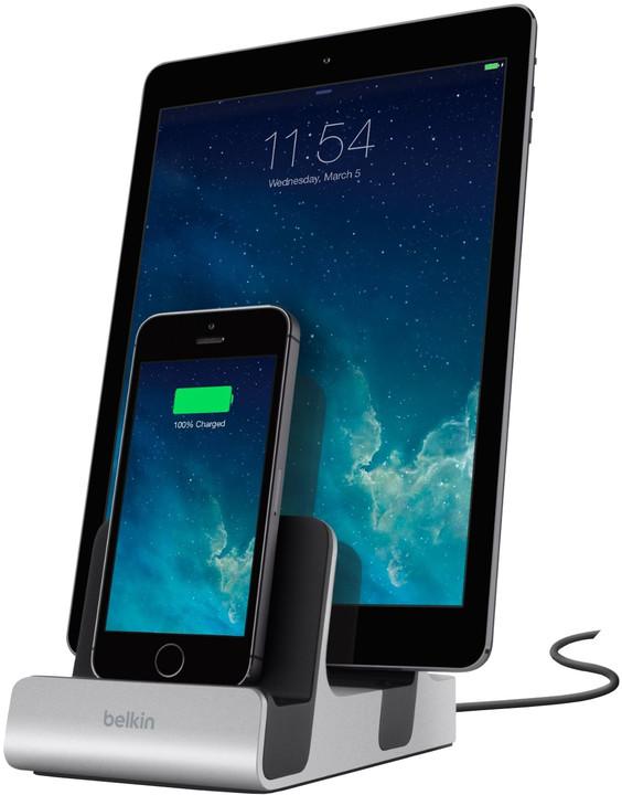 Belkin nabíjecí a synchronizační dock MIXIT UP pro iPhone 5/5s/6/6s/6 Plus - stříbrný