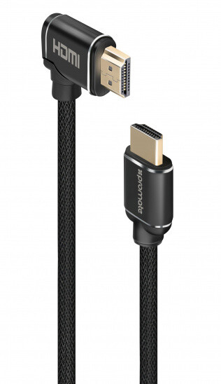 Promate kabel ProLink4K1-150 HDMI, M/M, 4K, High Speed Ethernet, 90° lomený, pozlacené kontakty, opletený, 1.5m, černá
