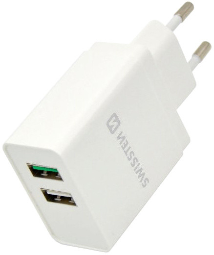 SWISSTEN travel charger Qualcomm 3.0 QUICK charge + smart IC with 2x USB 30W Power, bílá
