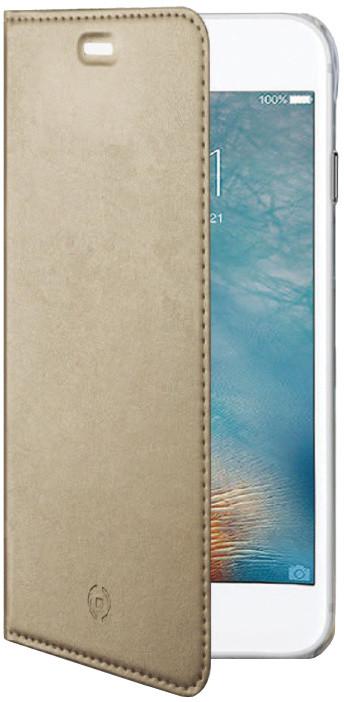 CELLY Air ultra tenké pouzdro typu kniha pro Apple iPhone 7, PU kůže, zlaté