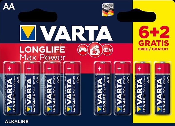 VARTA baterie Longlife Max Power AA, 6+2ks