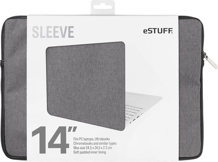 eSTUFF Ultrabooks, Chromebooks 14'' Sleeve - Fits PC Laptops, twill