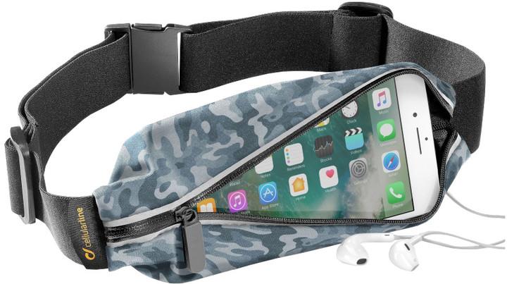 CellularLine WAISTBAND, SUMMER EDITION, sportovní pouzdro s kapsou na příslušenství, design Camo