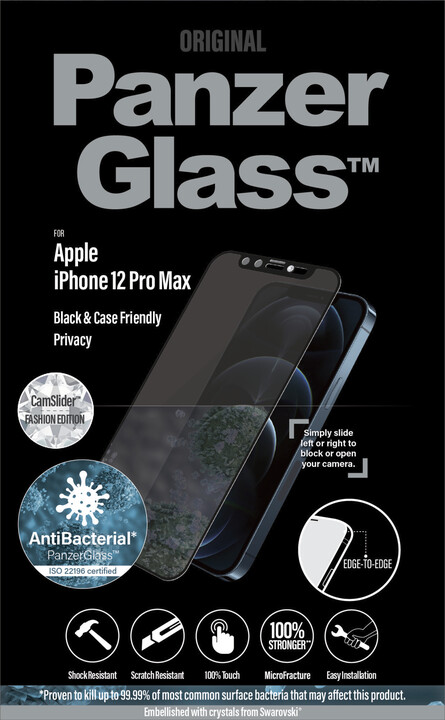 PanzerGlass ochranné sklo Edge-to-Edge pro iPhone 12 Pro Max, antibakteriální, Swarowski CamSlider, černá