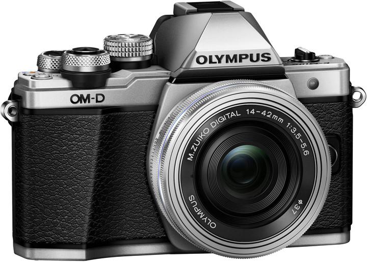 Olympus E-M10 Mark II + 14-42mm EZ, stříbrná/stříbrná