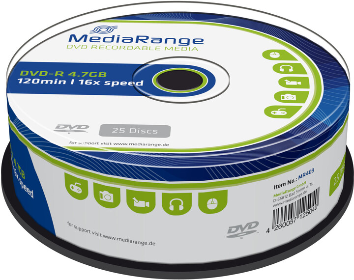 MediaRange DVD-R 4,7GB 16x, Spindle 25ks