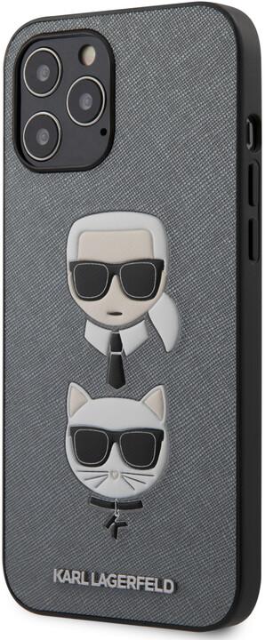 Karl Lagerfeld ochranný kryt Saffiano K&C Heads pro iPhone 12 Pro Max, stříbrná