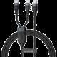 BASEUS kabel Flash Series 2v1, USB-C - 2xUSB-C, M/M, nabíjecí, datový, 100W, 1.5m, černá
