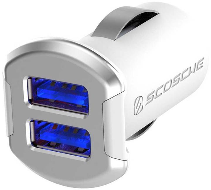 Scosche reVolt dual dvojitá autonabíječka USB 2x 2,4A bílo-stříbrná