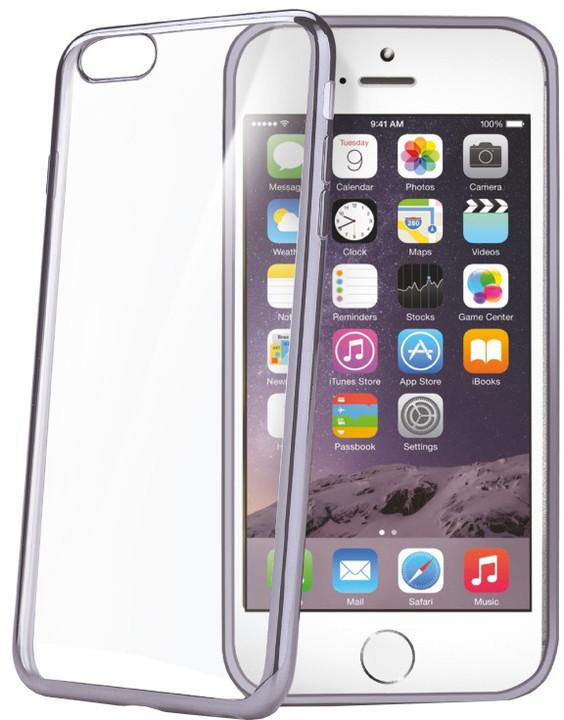 CELLY Laser, lemování s kovovým efektem pouzdro pro Apple iPhone 6/6S, černá