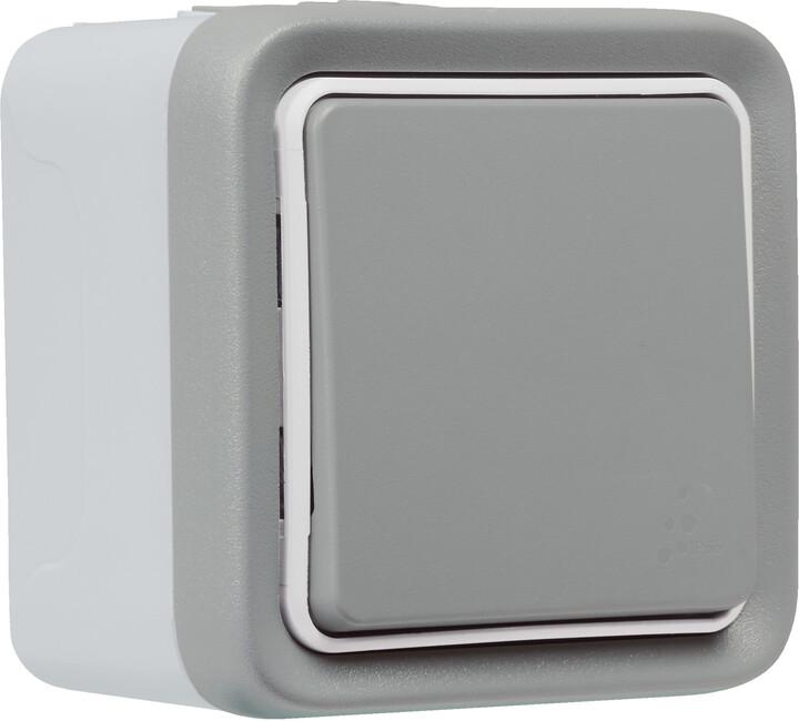 Legrand spínač Plexo With Netatmo, bezdrátový, IP55, šedá