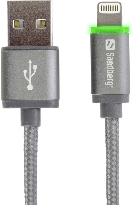 Sandberg kabel Lightning Reversible + LED, 1m