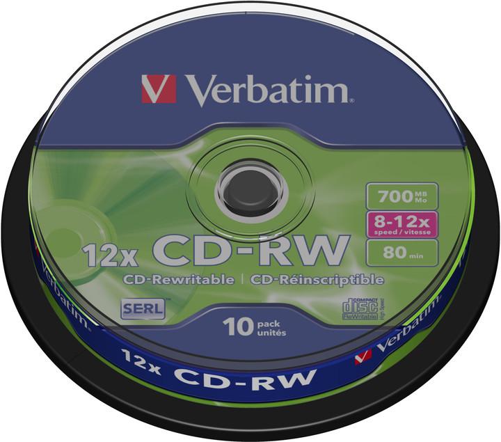 Verbatim CDRW 12x 80min/700MB, 10ks, spindle