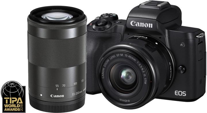Canon EOS M50, černá + EF-M 15-45mm IS STM + EF-M 55-200mm IS STM