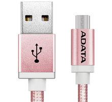 ADATA Micro USB kabel pletený, 1m, růžový - AMUCAL-100CMK-CRG