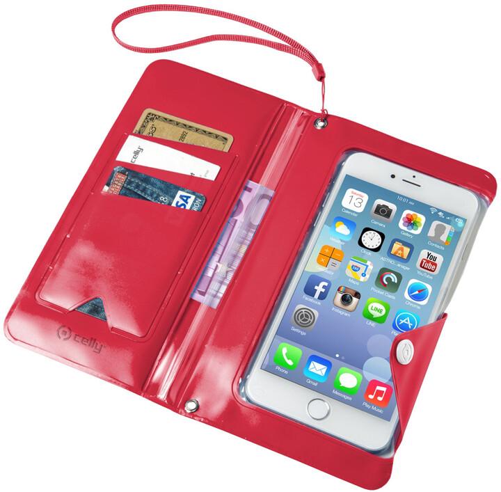 """CELLY Splash Wallet univerzální voděodolné pouzdro s peněženkou pro telefony 5,7 """", růžové"""