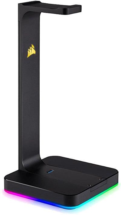 Corsair držák sluchátek ST100 RGB, 7.1 zvuková karta, USB 3.1 hub