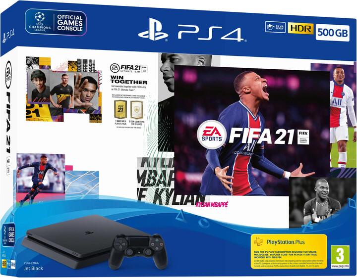 PlayStation 4 Slim, 500GB, černá + FIFA 21 + 2x DualShock 4