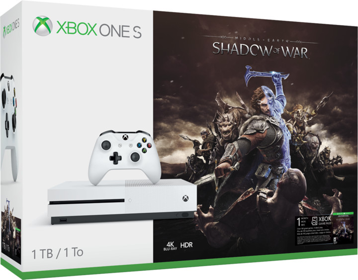 XBOX ONE S, 1TB, bílá + Middle-Earth: Shadow of War