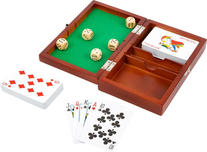 Soubor her Small Foot Hrací kostky a karty, v boxu, dřevěný