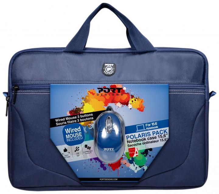 PORT DESIGNS POLARIS Toploading brašna na 15,6'' notebook + USB MOUSE, modrá