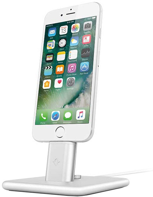 TwelveSouth HiRise Deluxe 2 stojan na iPhone, Smartphone včetně Lighting a Micro-USB kabelu stříbrná