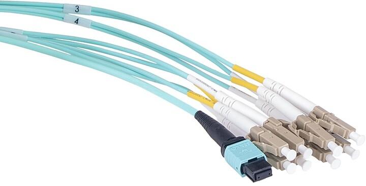 Masterlan optický MPO patch cord, MPOupc female/4xLCupc duplex, MM, OM4, 8, Typ B, 2m