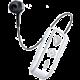 CELLY SNAIL, bluetooth headset s klipem a navijákem kabelu, bílá