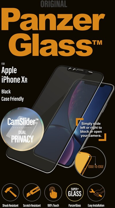 PanzerGlass Edge-to-Edge Privacy pro Apple iPhone Xr s CamSlider, černá