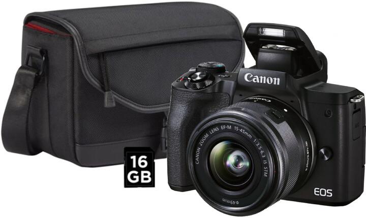 Canon EOS M50 Mark II, černá + EF-M 15-45mm IS STM + SB130 + karta 16GB