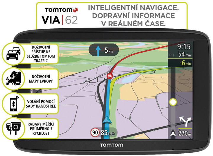 TOMTOM VIA 62 Europe (45 zemí) LIFETIME mapy