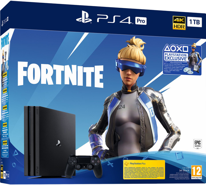PlayStation 4 Pro, 1TB, Gamma chassis, černá + Fortnite (2000 V-Bucks)