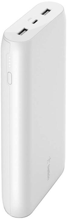 Belkin powerbanka, 20000mAh, 2xUSB-A, USB-C, 15W, bílá