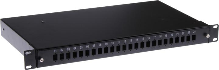 """Masterlan optická vana 24x SC Simplex, patch panel vč. kazety, 1U, 19"""", černá"""