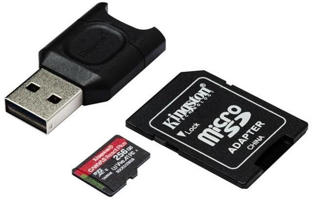 Kingston Micro SDXC Canvas React Plus 256GB 280MB/s UHS-II U3 + adaptér