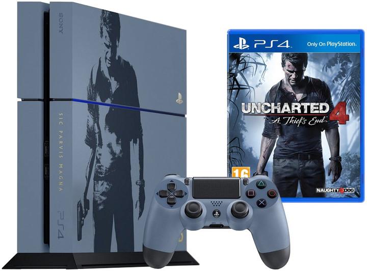 PlayStation 4, 1TB, šedomodrá + Uncharted 4: A Thief's End