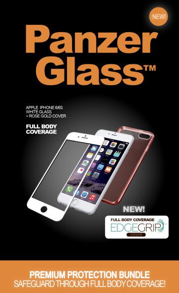 PanzerGlass Premium with EdgeGrip - Ochranná sada obrazovky - bílá, ružová - pro Apple iPhone 6, 6s