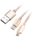 Akasa nabíjecí a synchronizační kabel 2v1 USB-A 2.0 - USB Micro-B, USB-C, opletený, 1.2m, zlatá