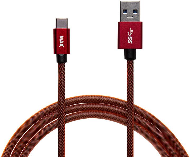 MAX kabel USB-C opletený, 1m, červená