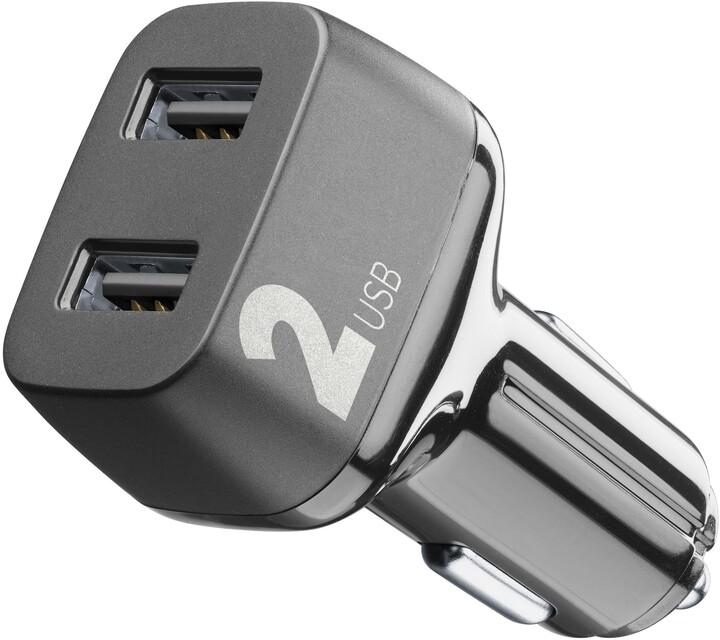CellularLine autonabíječka Car Multipower 2, 2 x USB port, černá