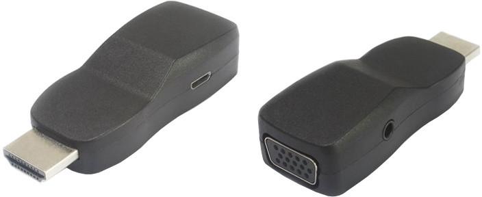 PremiumCord převodník HDMI na VGA miniaturní provedení se zvukem a napájecím konektorem, černá