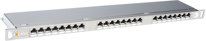 """Solarix 19"""" Patch panel 24xRJ45 CAT6 STP s vyvaz.lištou nerez 0,5U, SX24HD-6-STP-SL"""