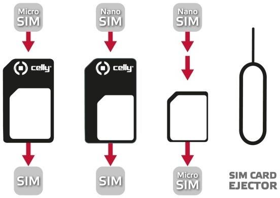 CELLY adaptér SIM karet z nanoSIM na microSIM a miniSIM karty