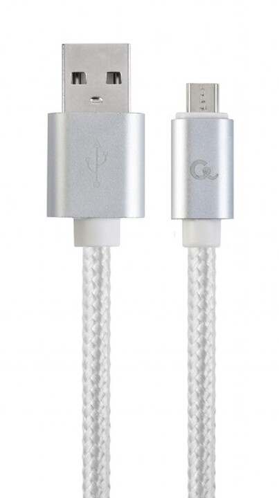 Gembird CABLEXPERT kabel USB A Male/Micro B Male 2.0, 1,8m, opletený, stříbrná