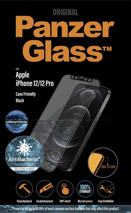 PanzerGlass ochranné sklo Edge-to-Edge pro iPhone 12/12 Pro, antibakteriální, Anti-BlueLight, 0.4mm černá