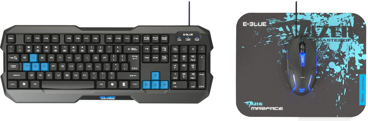 Set KB, myš a podložka E-Blue Polygon + Cobra II + Mazer S, černý/modrý, US