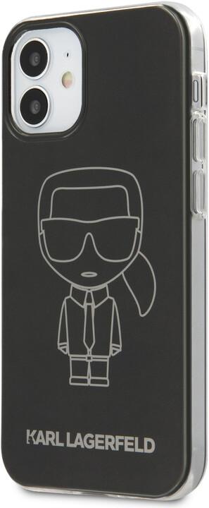 "KARL LAGERFELD ochranný kryt Metallic Iconic Outline pro iPhone 12 Mini (5.4""), TPU, černá"